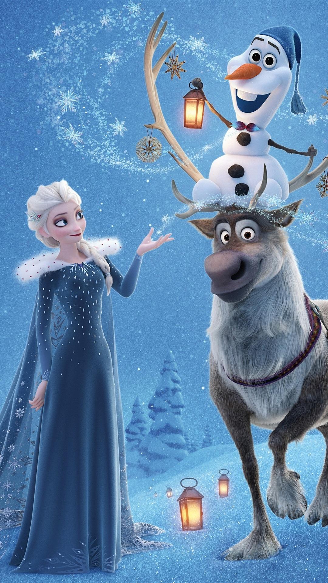 Wallpaper Frozen Elsa Anna Deer Snowman Disney Cartoon Movie