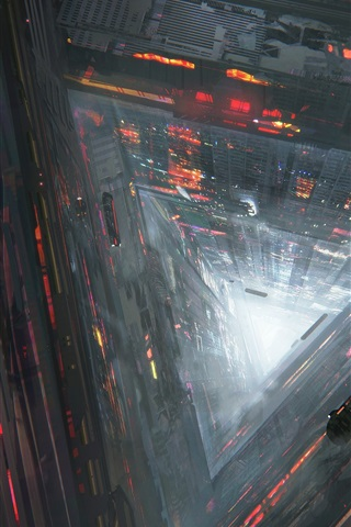 iPhone Wallpaper Future city, abyss, roads, cars, train, flight, fantasy art drawing