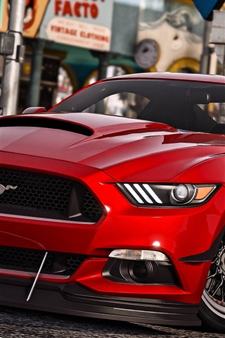 iPhone Wallpaper GTA 5, Ford Mustang red car