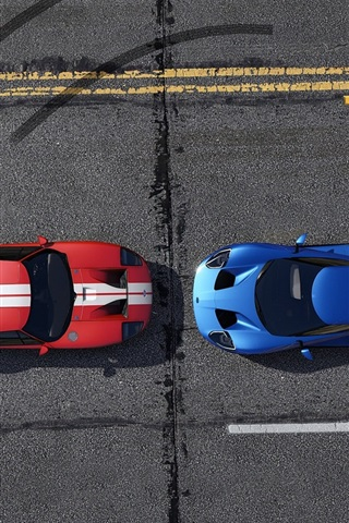 iPhone Wallpaper GTA 5, blue and red racing cars top view