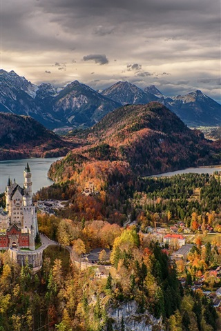 iPhone Wallpaper Germany, Bavaria, trees, Neuschwanstein Castle, town, mountains, clouds