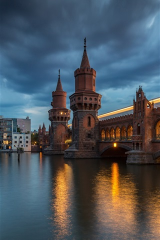 iPhone Wallpaper Germany, Berlin, Upper Tree Bridge, night, river, lights