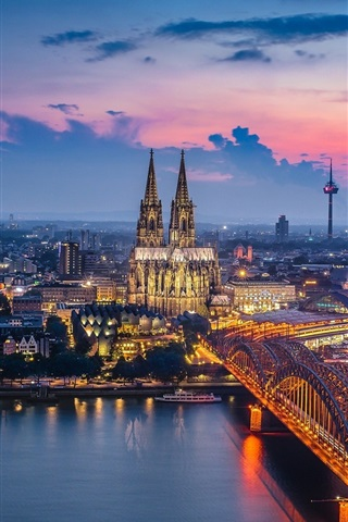 iPhone Wallpaper Germany, Cologne, cathedral, bridge, river, lights, night, city