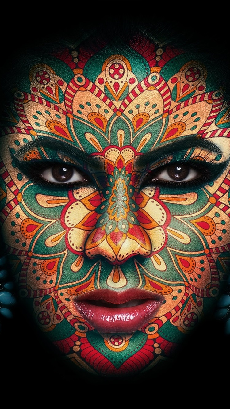Wallpaper Girl Face Makeup Tattoo Black Background 1920x1440 Hd Picture Image