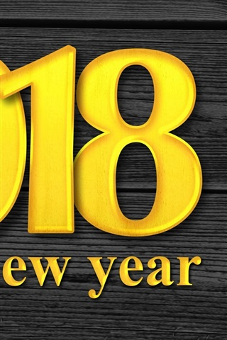 iPhone Wallpaper Golden color 2018, Happy New Year, wood background