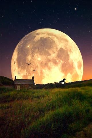 iPhone Wallpaper Grass, hut, planet, starry, dream world