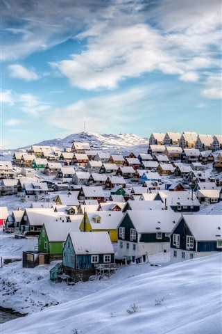 iPhone Wallpaper Greenland, Nuuk, Denmark, winter, houses, snow, beautiful