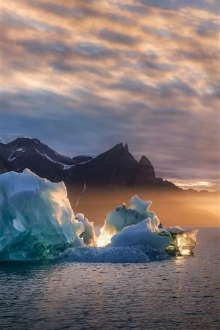 iPhone Wallpaper Greenland, ice, sea, sunset, Denmark