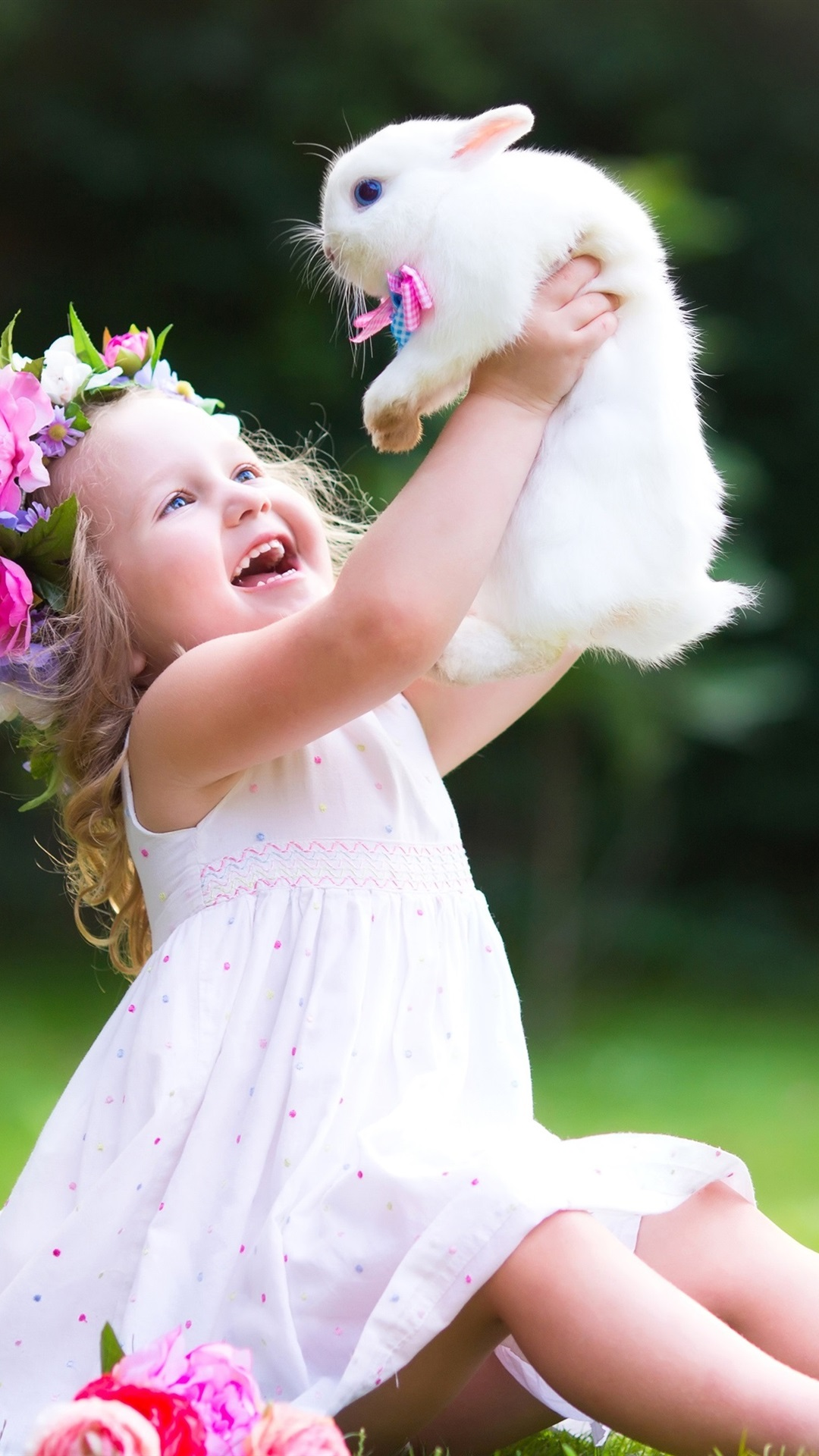 Happy Child Girl Play With White Rabbit 1080x1920 Iphone 8 7 6 6s Plus Wallpaper Background Picture Image