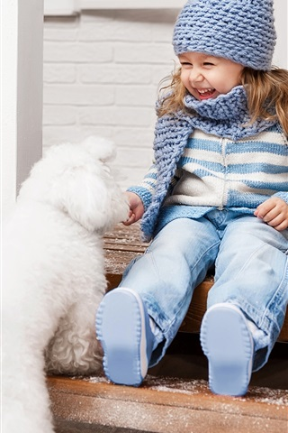 iPhone Wallpaper Happy little girl and white dog