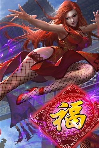 iPhone Wallpaper Heroes of Newerth, red hair Chinese girl