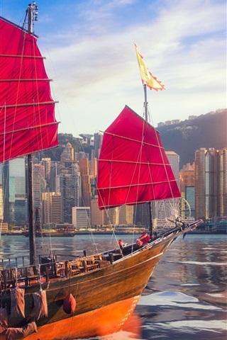 iPhone Wallpaper Hong Kong, Victoria Harbour, skyscrapers, ship, sea, sun, China