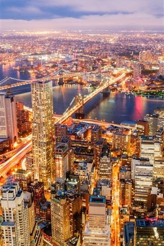 iPhone Wallpaper Hudson river, New York, city night, skyscrapers, bridge, roads, lights, USA