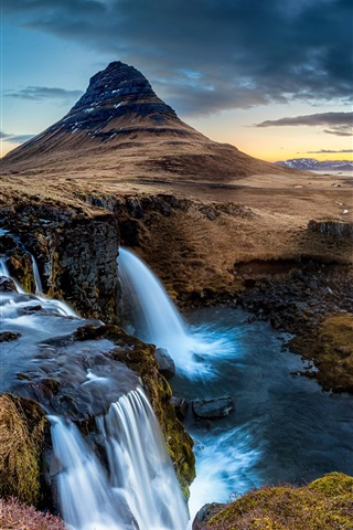 iPhone Wallpaper Iceland, Peninsula, waterfall, Kirkjufell mountain