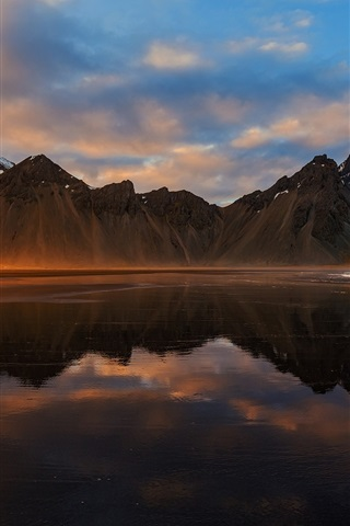 iPhone Wallpaper Iceland, mountains, sea, clouds, sunset, water reflection