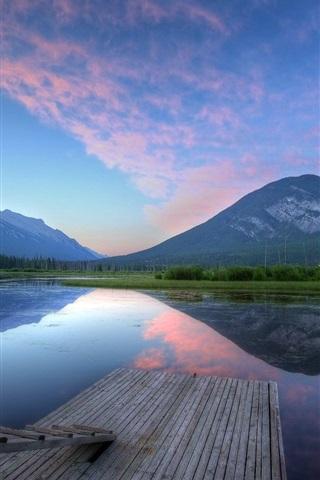 iPhone Wallpaper Lake, mountains, pier, ladder, dusk, water reflection