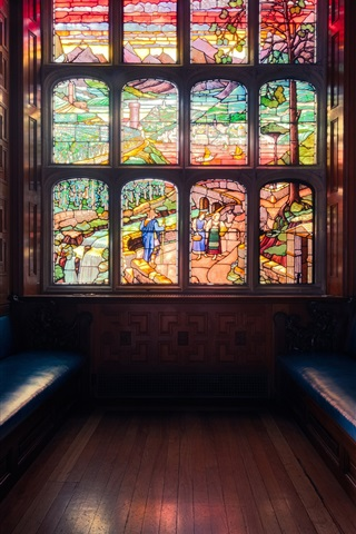 iPhone Wallpaper London, England, window, stained glass, bench