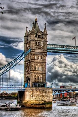 iPhone Wallpaper London, Tower Bridge, cloudy sky, river, city