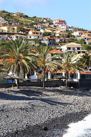 iPhone Wallpaper Madeira, Santa Cruz, Portugal, sea, palm trees, slope, houses, villa