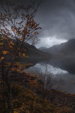 iPhone Wallpaper Mountains, lake, black clouds, dusk