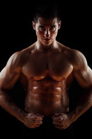iPhone Wallpaper Muscular, bodybuilder, abdominals, sweat, man, black background
