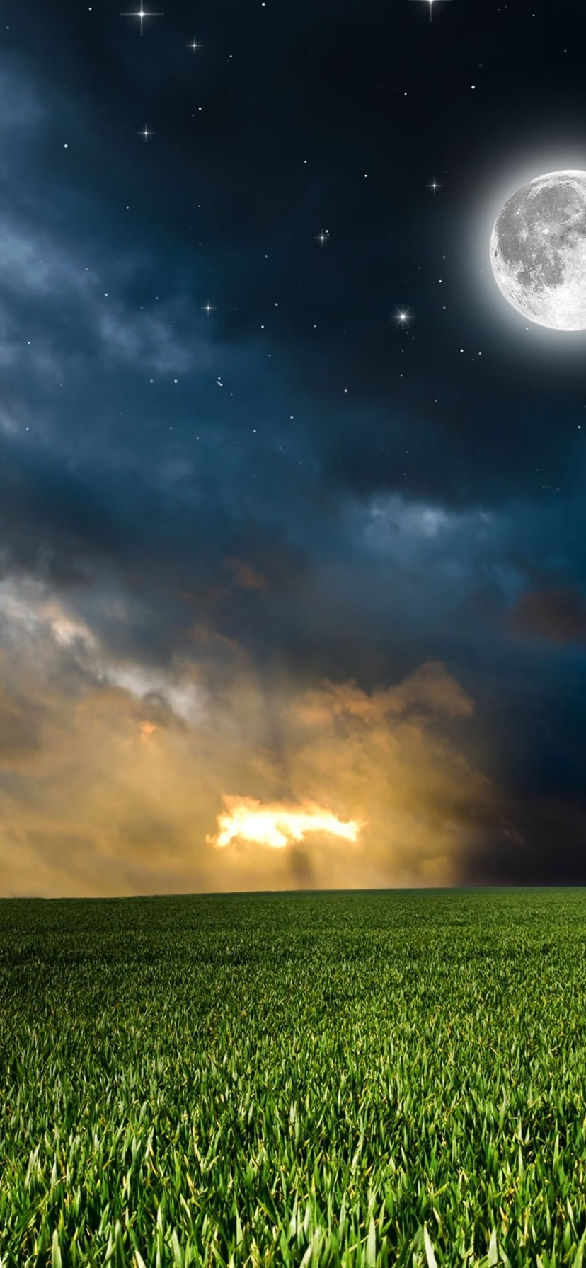 Wallpaper Nature, fields, clouds, moon, stars, night 3840x2160 UHD 4K Picture, Image