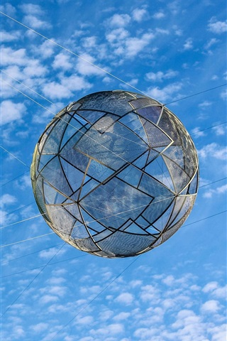 iPhone Wallpaper Net ball in the blue sky, clouds