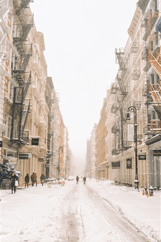 iPhone Wallpaper New York in winter, snow, street, buildings, USA