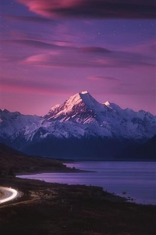 iPhone Wallpaper New Zealand, road, light, mountains, sea, night