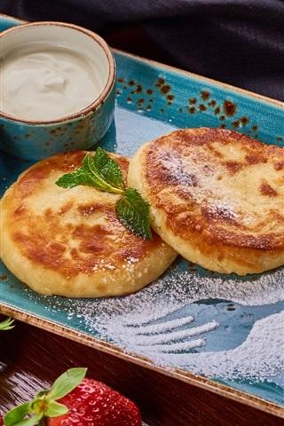 iPhone Wallpaper Pancake, sour cream, jam, lemon, blueberry, strawberry, breakfast