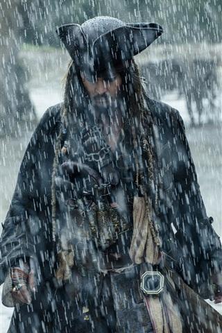 iPhone Papéis de Parede Piratas do Caribe 5, Johnny Depp, chuva forte