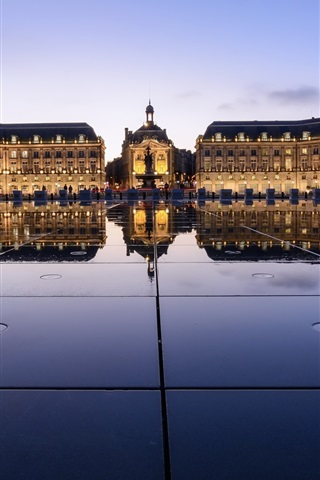 iPhone Wallpaper Place de la bourse, Bordeaux, France, night, lights, buildings