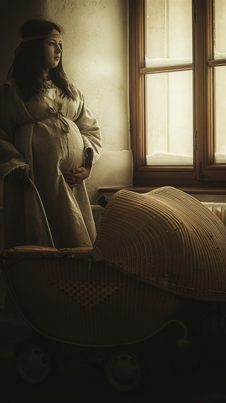 Wallpaper Pregnancy Girl Stand At Window Side Stroller 1920x1440 Hd Picture Image