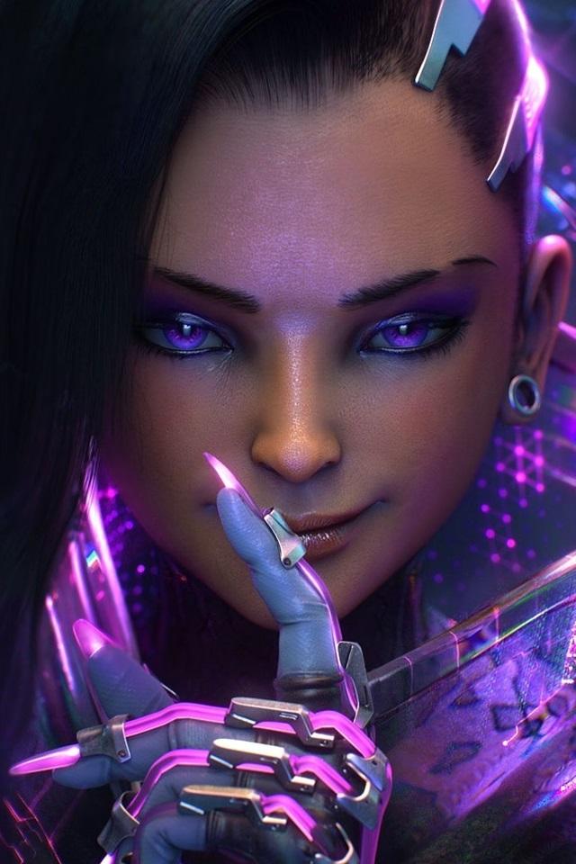 Fonds d'écran Fille fantaisie yeux violets, style futur 1920x1080 Full HD image