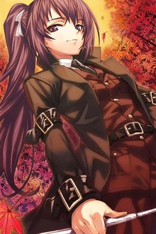 iPhone Wallpaper Purple hair anime girl, maple tree, red leaves, autumn
