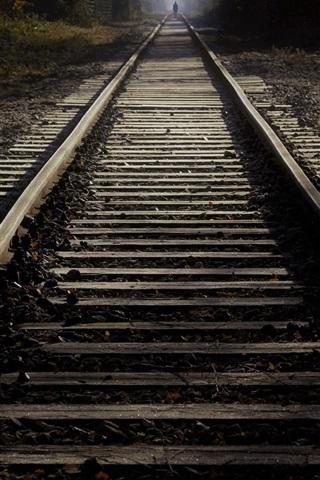 iPhone Wallpaper Railroad, light, dark