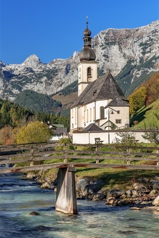 iPhone Wallpaper Ramsau, Bavarian Alps, Germany, church, town, trees, river, bridge