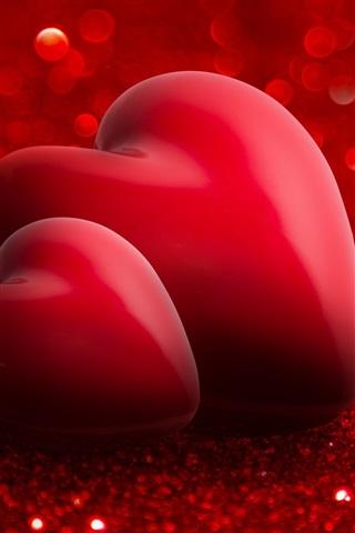 iPhone Wallpaper Red love hearts, romantic, shine