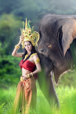 iPhone Wallpaper Red skirt Asian girl and elephant