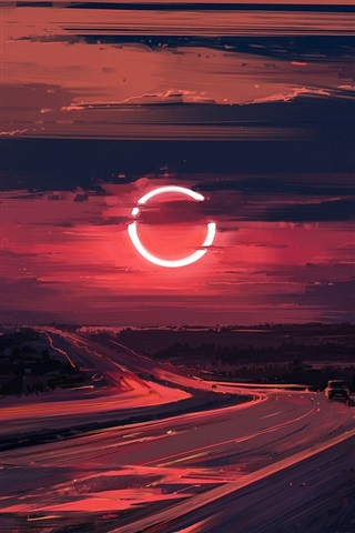 iPhone Wallpaper Road, sunset, Eclipse, beautiful drawing