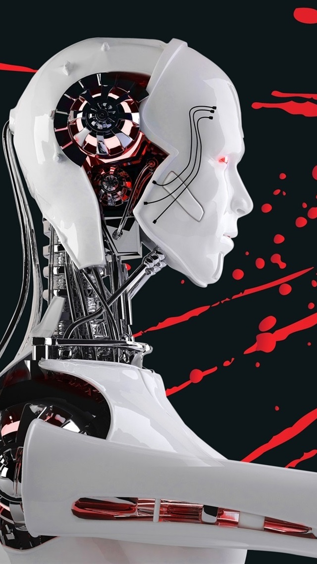 Robot Skull Blood Creative Picture 640x1136 Iphone 5 5s