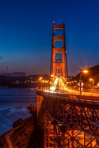 iPhone Wallpaper San Francisco, Golden Gate Bridge, night, lights, city, USA