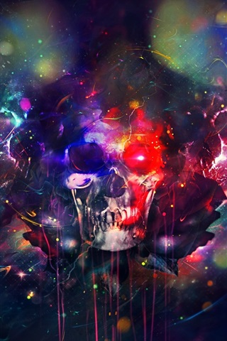 iPhone Wallpaper Skull, paint, colorful, bright, creative design