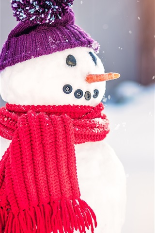 iPhone Wallpaper Snowman, scarf, hat, snow, winter, New Year