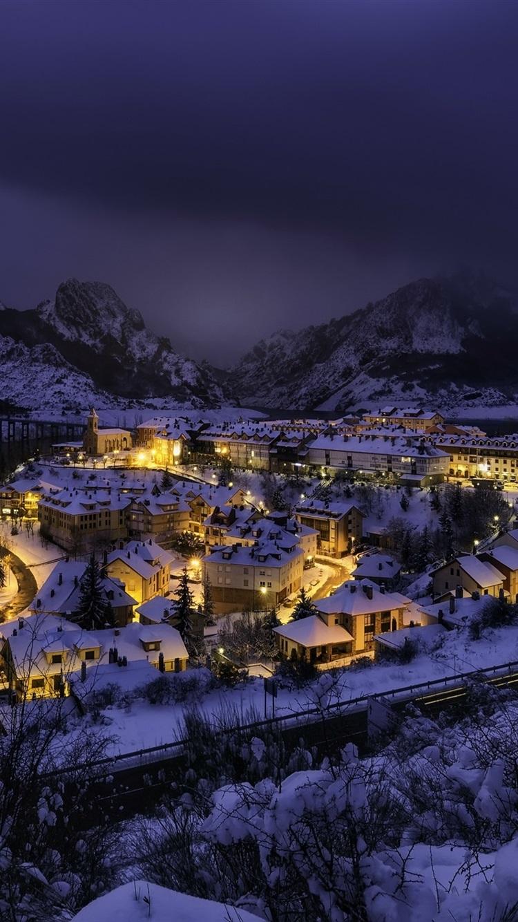 壁紙 スペイン カスティーリャレオン リアノ 都市 雪 冬 夜