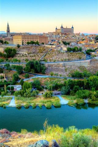 iPhone Wallpaper Spain, Toledo, beautiful city, river, houses