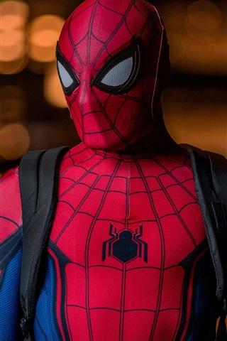 iPhone Wallpaper Spider-Man at night, superhero