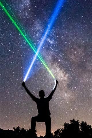 iPhone Wallpaper Starry, night, man, lightsaber