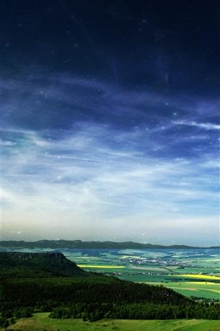 iPhone Wallpaper Starry, sky, forest, fields, town, beautiful landscape