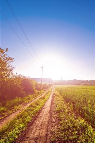 iPhone Papéis de Parede Nascer do sol, caminho, campo, fio, sol, céu azul, brilho